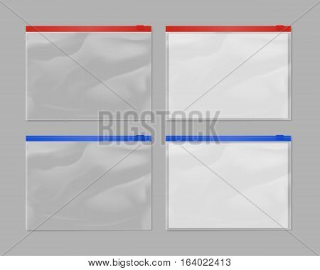Realistic plastic zipper bag mock up set isolated on grey background. Vector zipper bag illustration. Blank red and blue 3d model empty sealed plastic zipper bag , transparent container. Zipper bag tamplate. Blank plastic zipper bag layout.