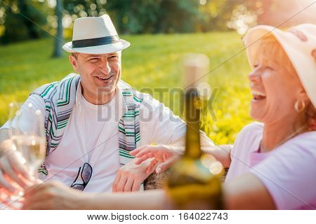 Couple in park on picnic.Cute mature couple drinking wine on a picnic smiling at each other on a sunny day.