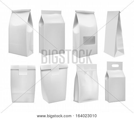 Realistic take away blank food box mock up set isolated on white background. Vector food packaging box layout. Blank white 3d coffee packaging, product container, empty food box. Food packaging template. Takeaway food box or cake box. Coffee bag.