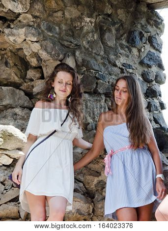 Pretty Girls At Old Historical Ruins