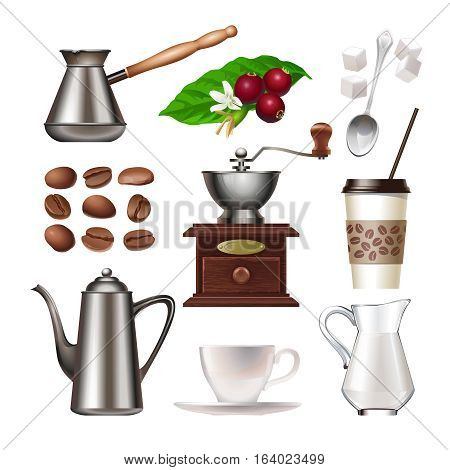 Vector set of icons - coffee berries and grains, Turk, hand mill, coffee pot, cup and saucer, a plastic cup, spoon, sugar lumps, cream