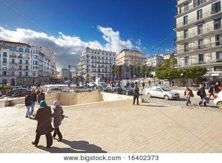 ALGIERS, ALGERIA - NOV 21: Central street of Algiers city on November 21, 2010 in Algiers, Algeria. Algiers the capital city of Algeria the most largest country of the Maghreb States group