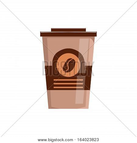 Take Away Coffee In Paper Cup Isolated Vector Icon From Set Of Coffee Shop Drinks Assortment Menu Items. Cartoon Sticker With Cafe Breakfast Hot Beverage.