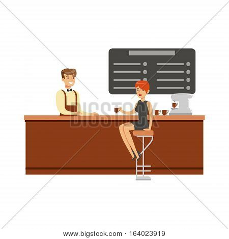 Woman Sitting At The Counter On Bar Chair At The Coffee Shop Drinking Coffee And Talking To Barista Vector Illustration. Happy Cartoon Character At The Cafe Flat Drawing From Coffee And Pastry Shop Series.