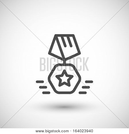 Medal line icon isolated on grey. Vector illustration