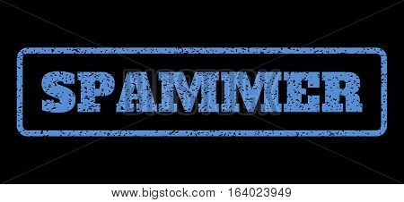 Blue rubber seal stamp with Spammer text. Vector tag inside rounded rectangular banner. Grunge design and scratched texture for watermark labels. Horisontal emblem on a black background.