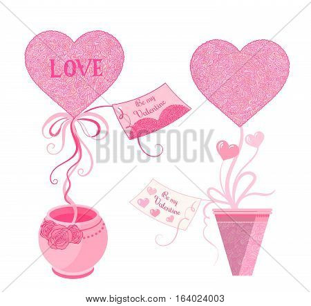 Vector Illustration Set Of Topiary With Hearts And Greeting Card, In Pot