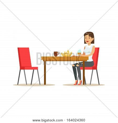 Woman Having Sweet Lunch, Drinking Coffee and Eating Pastry At Bakery Shop Table Vector Illustration. Happy Cartoon Character At The Cafe Flat Drawing From Coffee And Pastry Shop Series.