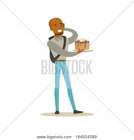 Man Holding Festive Birthday Cake Bought In Bakery Shop Speaking On His Mobile Phone Vector Illustration. Happy Cartoon Character At The Cafe Flat Drawing From Coffee And Pastry Shop Series.