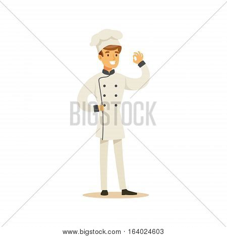 Man Professional Cooking Chef Working In Restaurant Wearing Classic Traditional Uniform Showing OK Gesture Cartoon Character Illustration