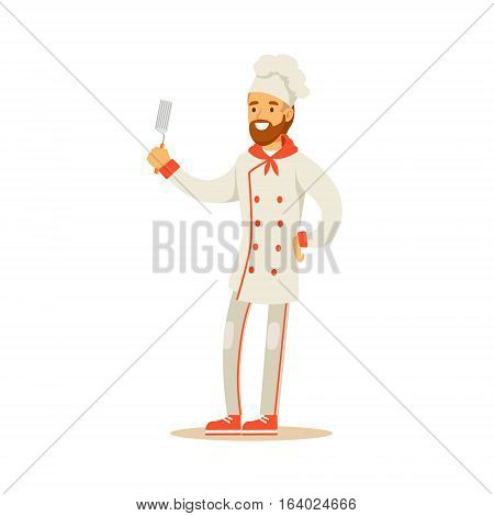Bearded Man Professional Cooking Chef Working In Restaurant Wearing Classic Traditional Uniform Holding Spatula Cartoon Character Illustration