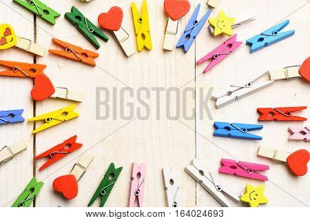 Colorful Clothespins In Circle