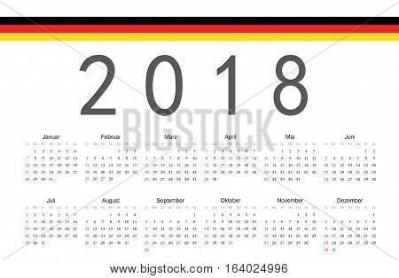 Simple rectangular German 2018 year vector calendar. Week starts from Sunday.