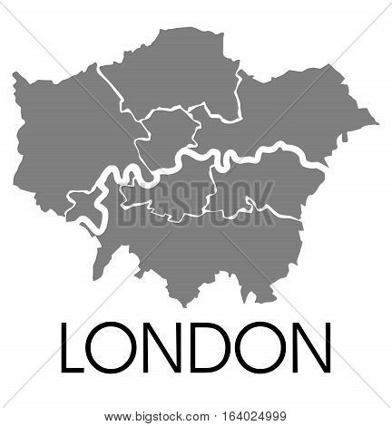 Administrative map of London , vector illustration