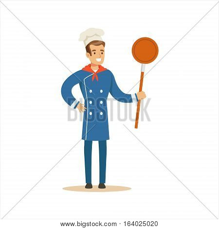 Man Professional Cooking Chef Working In Restaurant Wearing Classic Traditional Blue Uniform With Frying Pan Cartoon Character Illustration