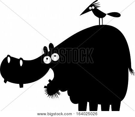 Funny hippopotamus and bird vector cartoon illustration