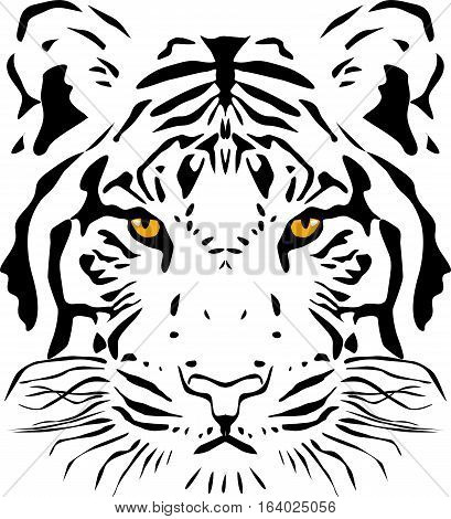Tiger head, Black and white outline vector illustration