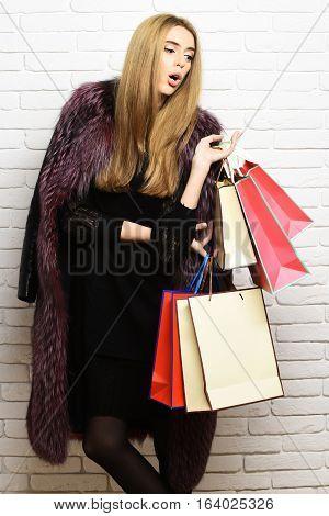 Fashionable Sexy Woman In Fur