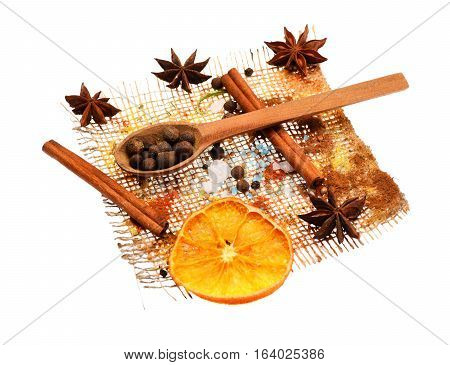 Spicy Fragrant Spices In Spoon