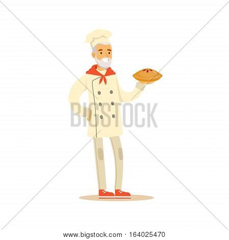 Old Man Professional Cooking Chef Working In Restaurant Wearing Classic Traditional Uniform Holding A Pie Cartoon Character Illustration
