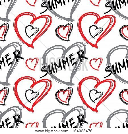 Summer seamless pattern. Vector pattern with hart shape. Hand drawn pattern.