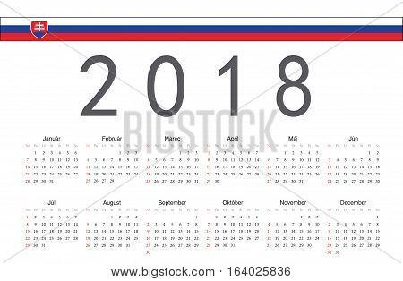 Simple rectangular Slovak 2018 year vector calendar. Week starts from Sunday.