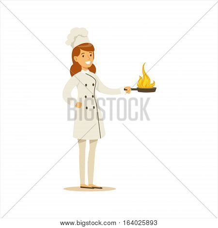 Woman Professional Cooking Chef Working In Restaurant Wearing Classic Traditional Uniform With Burning Frying Pan Cartoon Character Illustration