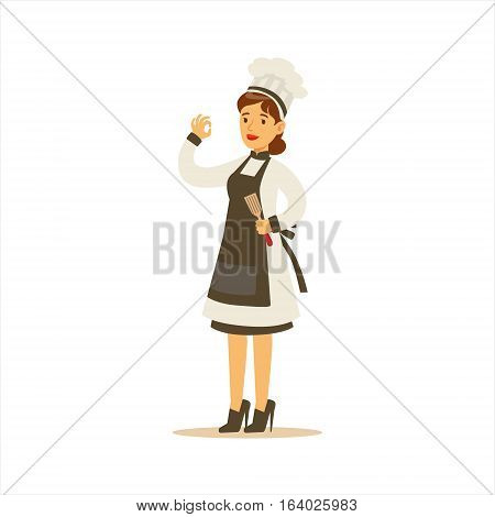 Woman Professional Cooking Chef Working In Restaurant Wearing Classic Traditional Uniform With Black Apron Cartoon Character Illustration