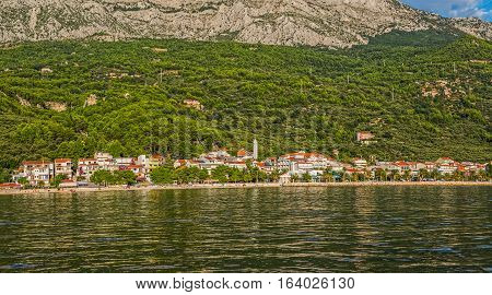 Tucepi view from the boat towards the town center, Adriatic Sea Croatia.