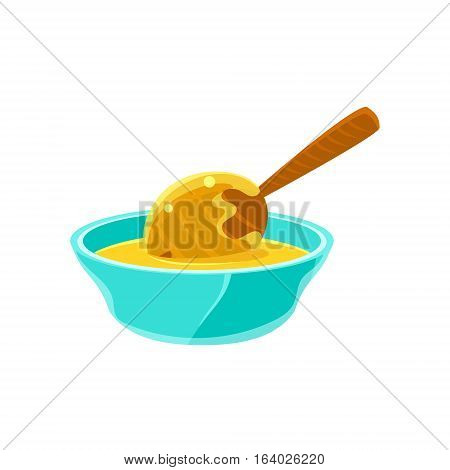 Bowl Of Honey WIth Honey Dipper, Natural Honey Production Related Carton Illustration. Primitive Vector Drawing With Beekeeping Associated Object Isolated On White Background.