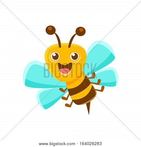 Happy Bee Mid Air With Sting, Natural Honey Production Related Carton Illustration. Primitive Vector Drawing With Beekeeping Associated Object Isolated On White Background.