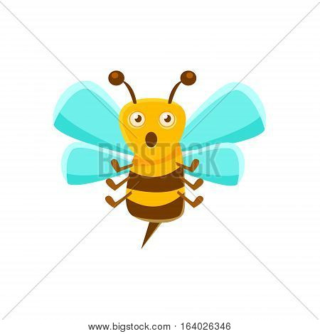 Confused Bee Mid Air With Sting, Natural Honey Production Related Carton Illustration. Primitive Vector Drawing With Beekeeping Associated Object Isolated On White Background.