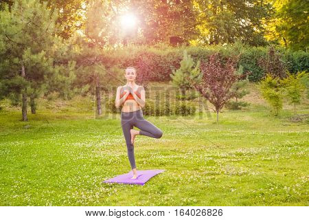 Young Woman Practicing Yoga In The Park.