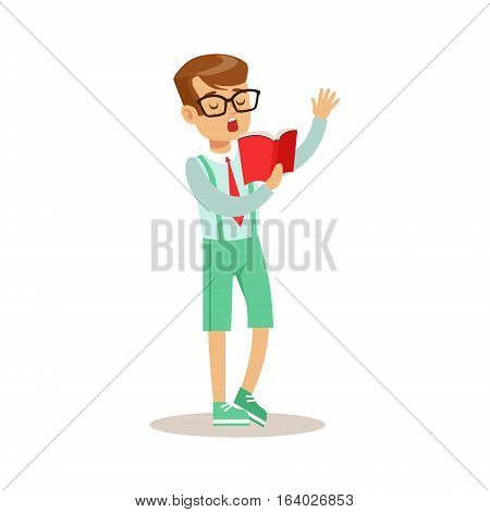 Boy In Glasses Who Loves To Read, Illustration With Kid Enjoying Reading An Open Book. Teenager Bookworm Cartoon Vector Character Smiling And Enjoying His Pastime And Hobby.