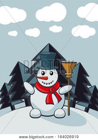 Snowman In Cartoon Style