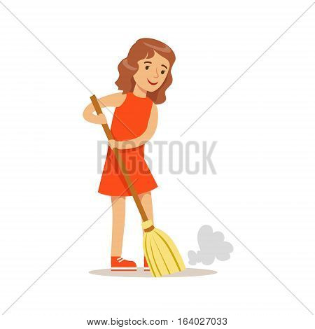 Girl Sweeping The Floor With The Broom Smiling Cartoon Kid Character Helping With Housekeeping And Doing House Cleanup. Vector Illustration From Children Home Cleaning And Tiding Series.