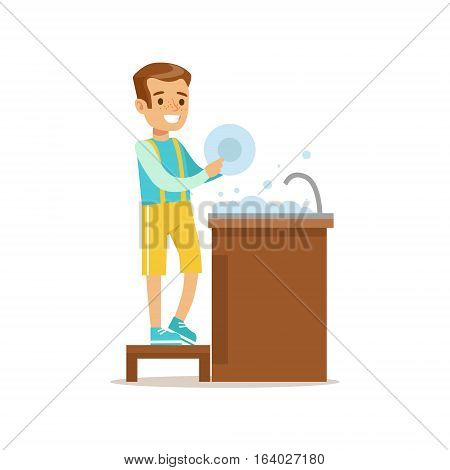 Boy Washing The Dishes Smiling Cartoon Kid Character Helping With Housekeeping And Doing House Cleanup. Vector Illustration From Children Home Cleaning And Tiding Series.