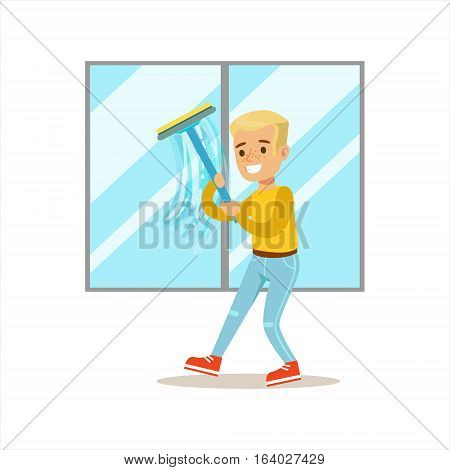 Boy Washing Windows With Squeegee Smiling Cartoon Kid Character Helping With Housekeeping And Doing House Cleanup. Vector Illustration From Children Home Cleaning And Tiding Series.