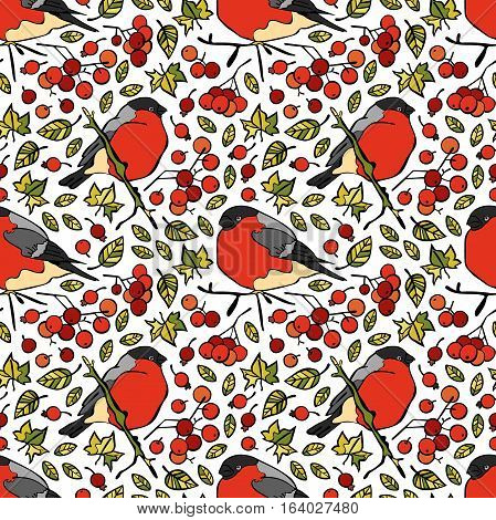 Bullfinches. Berries and leaves. Seamless vector pattern (background).