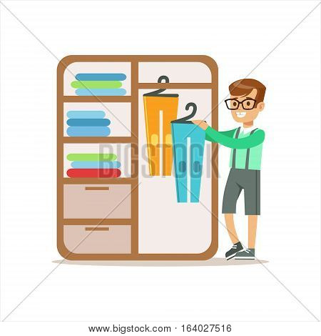 Boy Ranging Clothes In Dresser Smiling Cartoon Kid Character Helping With Housekeeping And Doing House Cleanup. Vector Illustration From Children Home Cleaning And Tiding Series.