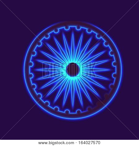 Dharmachakra, Dharma wheel and glow light effect. Buddhist symbol