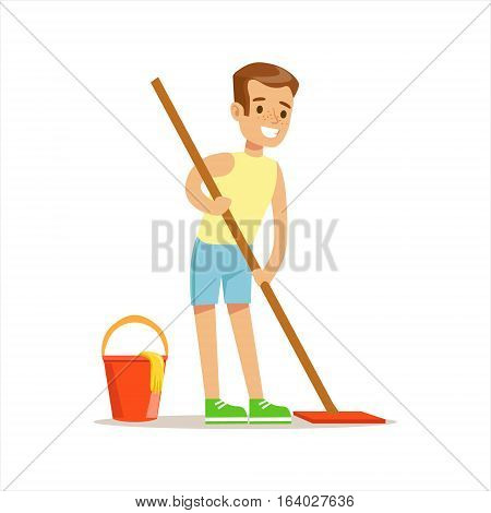 Boy Cleaning Floor With The Mop Smiling Cartoon Kid Character Helping With Housekeeping And Doing House Cleanup. Vector Illustration From Children Home Cleaning And Tiding Series.