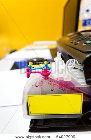 Opened Ink Plastic Refill Box Of Printer