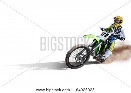 Dirt bike and rider isolated on white background