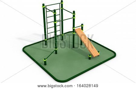 Parallel green bars with wood bench for press at sports ground for workout on the white background