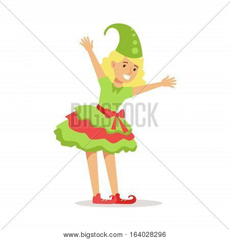 Girl Dressed As Santa Claus Christmas Elf For The Costume Holiday Carnival Party. Happy Kid In Holyday Disguises Vector Cartoon Illustration.