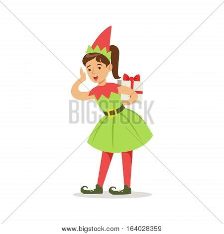 Girl In Pointy Shoes With Gift Dressed As Santa Claus Christmas Elf For The Costume Holiday Carnival Party. Happy Kid In Holyday Disguises Vector Cartoon Illustration.