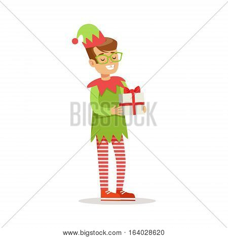 Boy in Glasses With Present Dressed As Santa Claus Christmas Elf For The Costume Holiday Carnival Party. Happy Kid In Holyday Disguises Vector Cartoon Illustration.