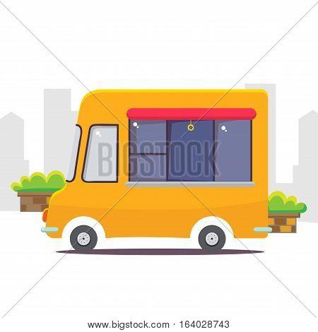 Cute cartoon street food vending truck vector illustration.