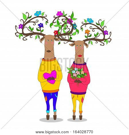 hipster deers falling in love holding flovers and heart